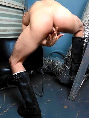Bald hunk David Chase strokes his dick