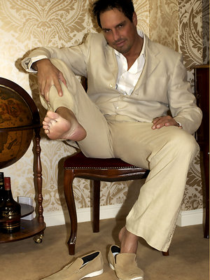 Horny Marcello sniffs his new suede shoes and shoots his load deep inside them