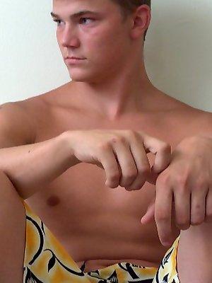 College boy Phil strokes dick