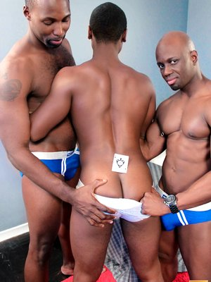 Black muscle studs goes threesome