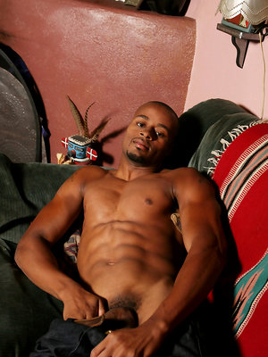 Ebony stud Dre shows his cock